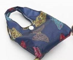 Navy Butterflies Foldaway Shopper
