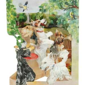 Santoro London Terriers Playing - 3D Pop-Up Swing Card