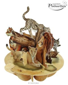 Santoro London - The Big Cats - 3D Pop-up Pirouette Card