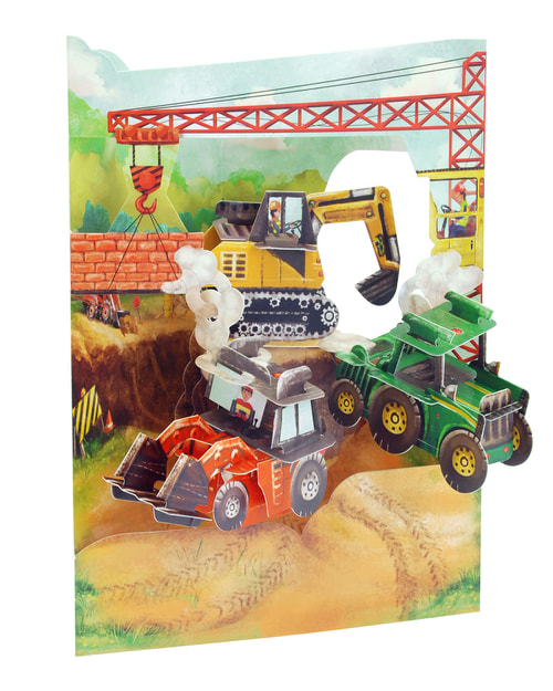 Santoro Tractors and Diggers – 3D Pop-Up Swing Card