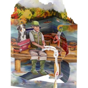 Fishing - 3D Pop-Up Swing Card from Santoro London