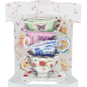 Santoro London - Stack of Teacups- 3D Pop-Up Swing Card