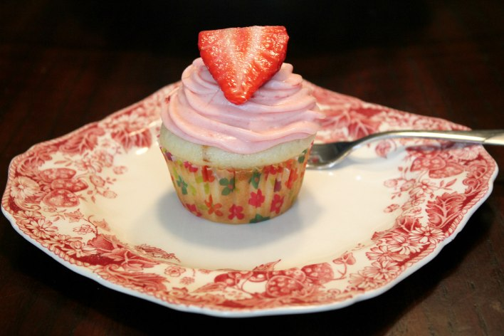 stuffed shortcake with strawberry & rosemary frosting