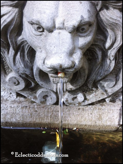 8. A water feature, what is the lion giving, maybe the elixir of life?