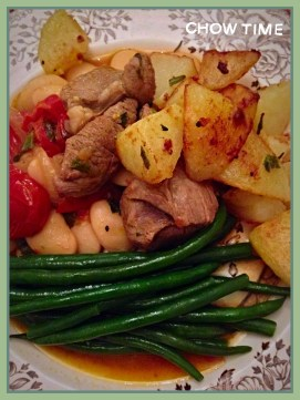 Lamb, mint & butter beans served with pan fried garlic & rosemary potatoes with greens!