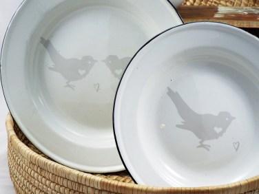 Love Birds Enamel Serving Set