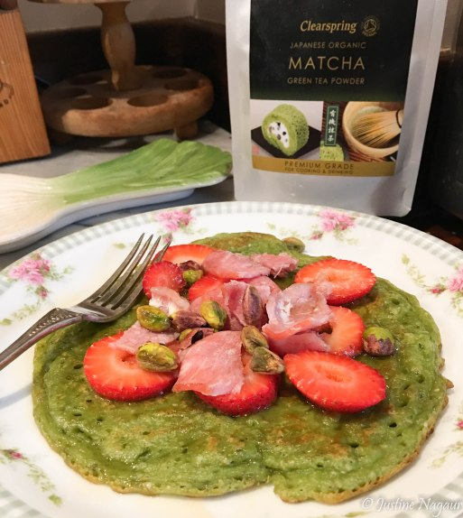 Dairy free matcha pancakes