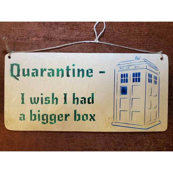 """Qiarantine I wish I had a bigger box"" sign by Eclectics Creations"