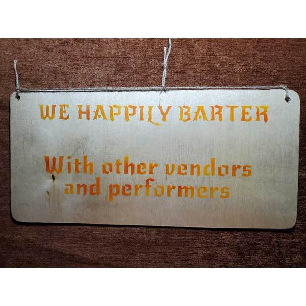 """""""We Barter"""" sign by Eclectics Creations"""