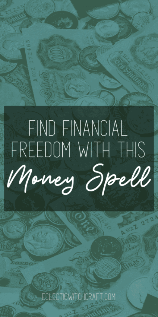 This is a money spell that works fast. Save your money, pay off your debts, find financial freedom, and then have a little bit of fun with money spell magic! You don't need a vision board to find financial freedom. Become debt free with this easy money spell. Get the motivation you need to save your money, stay within your budget, and encourage frugal living. What to do when you need to pay off your debt or save for early retirement. #financialfreedom #witchcraft #magick #pagan #wicca #money