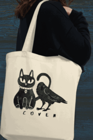 Gothic Cat and Crow Coven eco friendly tote bag for gothic girls and witchy people. This cute but creepy design will definitely catch some eyes. Show off your dark style with this shirt. Witch fashion, pagan fashion, gothic fashion, goth fashion, wicca fashion, occult shirt, witch shirt, pagan shirt, gothic shirt, goth shirt, wicca shirt. #witch #witchcraft #gothic #cat #crow #raven