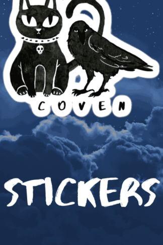 Gothic Cat and Crow Coven stickers for gothic girls and witchy people. This cute but creepy design will definitely catch some eyes. Show off your dark style with this pagan art. Witch fashion, pagan fashion, gothic fashion, goth fashion, wicca fashion, occult shirt, witch shirt, pagan shirt, gothic shirt, goth shirt, wicca shirt, witch home decor. #witch #witchcraft #gothic #cat #crow #raven