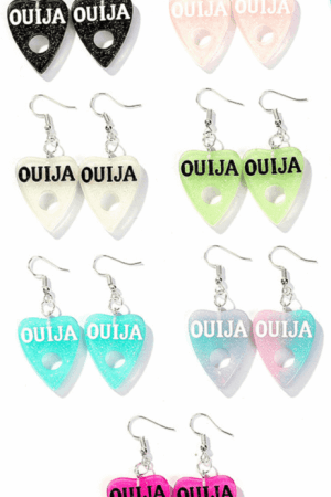 Occultist Ouija Drop Earrings: These earrings are a spiritualist's dream. Coming in many colors, these ouija planchette earrings are adorable and fun. Use these earrings to say hello to the dead from your earlobes. But don't forget to say goodbye at the end to close the session! 👻 These earrings feature 2 lightweight resin ouija planchettes attached to dangle earrings made from zinc alloy. Wear these when you tell ouija stories! #ouija #occult #witch #earrings