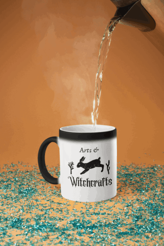 This arts & witchcrafts coffee mug changes colors when it gets hot, and features rustic twigs and a running hare. The perfect design for a witch that is obsessed with coffee. Practice black magick while drinking black coffee! #witchcraft #rabbit #coffee #witch #witch #magick #witchcraft #fantasy #witch #witchcraft #blessedbe #wicca #wiccan #pagan #pentacle #pentagram