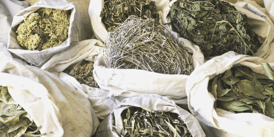 Bags of herbs like lavender and bay leaves.