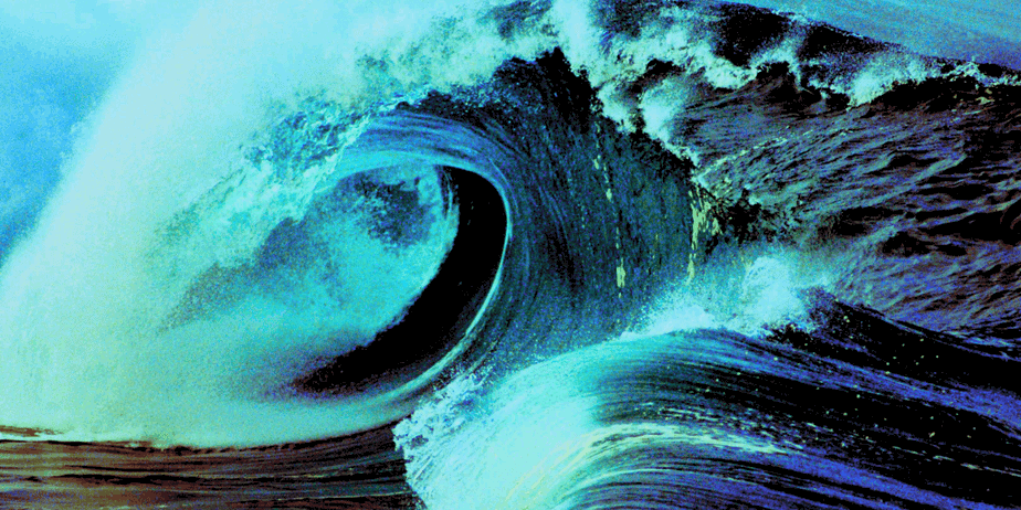 A large wave on the ocean