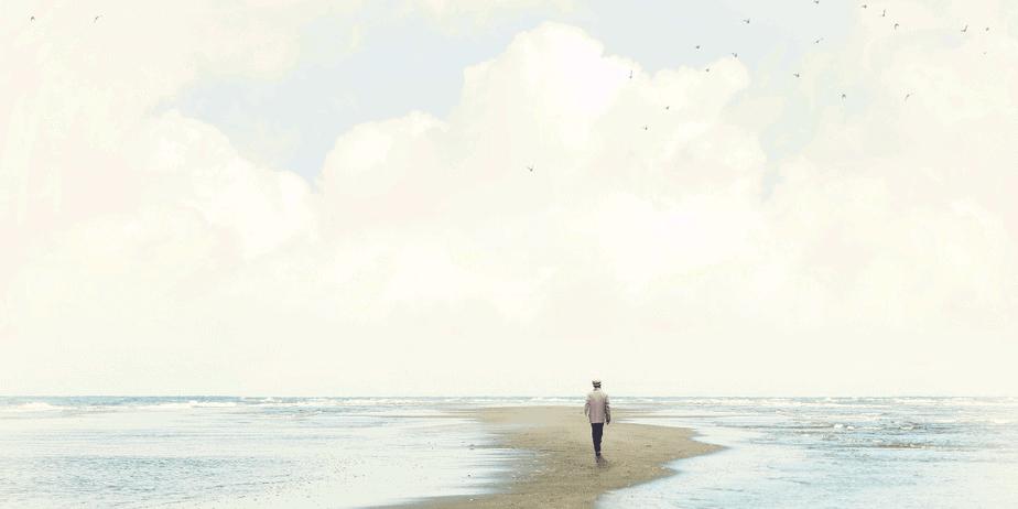 A person walking through a white, magickal landscape
