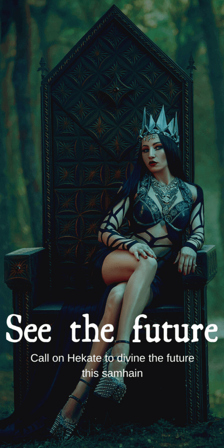 Call on Hekate To See The Future This Samhain: You can divine the future with this spell, but if you hear dogs howling it's a warning that danger is present! This is the perfect spooky Halloween witch ritual. Do this at your Halloween party and you'll make everyone super scared! #samhain #halloween #witch #witchcraft #pagan #wicca #occult