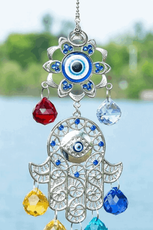 Hand of Fatima evil eye wind chime