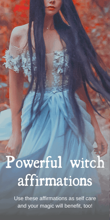 Powerful witch affirmations: use these affirmations as self care and your magic will benefit too. These affirmations are perfect for witches that are unsure about their magickal abilities or need to boost their confidence before a spell. Simply pick one that resonates with you and repeat it before a spell or whenever needed. // Affirmations law of attraction for anxiety. Affirmations for women. Affirmations for witches. Witch affirmations. #witchcraft #witch #magick #affirmations