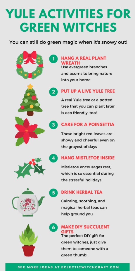 Yule activities for green witches. You can still do green magic when it's snowy out! How can a green witch celebrate Christmas? Yule gift ideas, gardening tips for winter, green witchcraft when it's snowy outside. How to be surrounded by real plants even in the dead of winter. #yule #witch #greenwitch #witchcraft #christmas #pagan #paganism #wicca #garden #gardening #wreaths #christmastree #yuletree #poinsettia #herbaltea