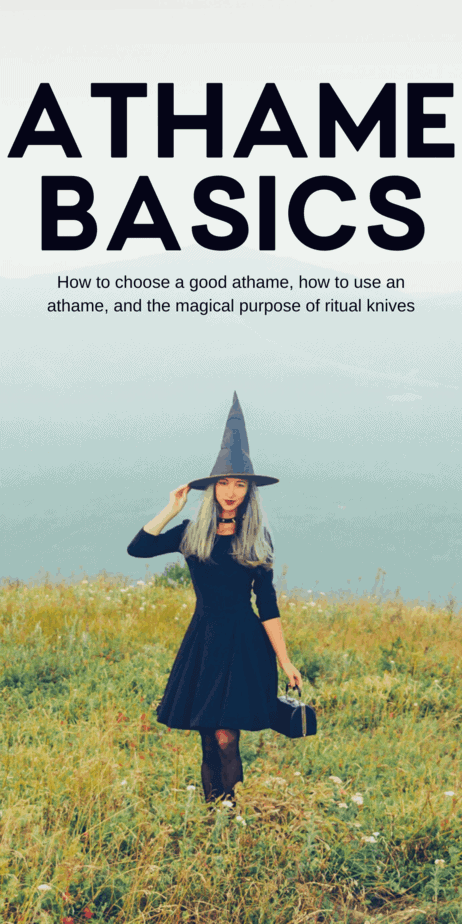 Why do witches need an athame or ritual knife? All about ritual knives, athames, ritual daggers, and bolines. If you are working with a coven and you are trying to direct healing energy at a member of your coven that is sick or dealing with a break up, you could do that by building up that healing energy in the athame then pointing it at that person to release the energy. #athame #witchcraft #witch #knife #knives #boline #pagan #wicca #paganism #wiccan #magick