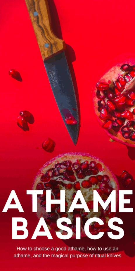 Athame basics for witches. All about ritual knives, athames, ritual daggers, and bolines. The name athame was probably made up by Gerald Gardner, but the term is in popular use now by many types of pagans and witches, even outside of Wicca. #athame #witchcraft #witch #knife #knives #boline #pagan #wicca #paganism #wiccan #magick