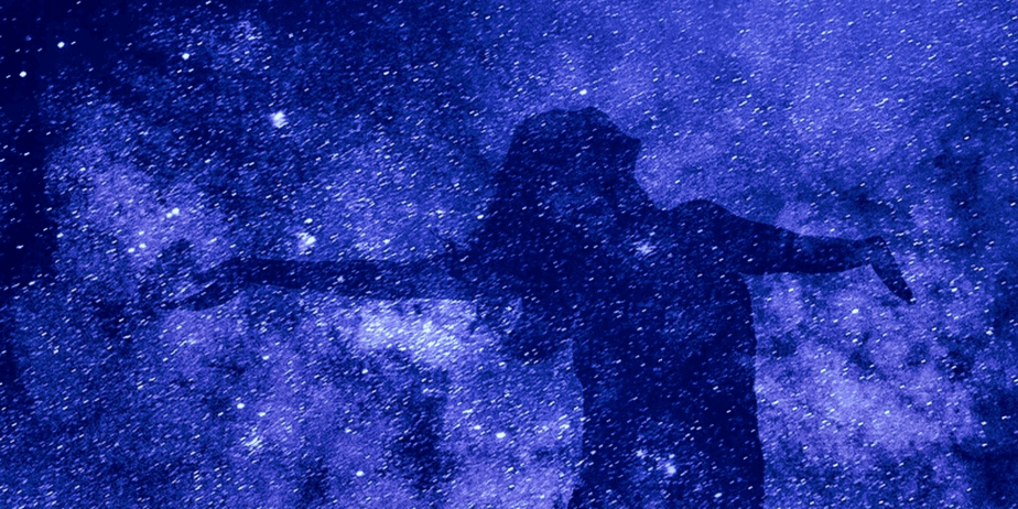 A woman's shadow superimposed onto an image of space and stars
