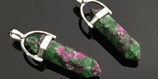 Ruby zoisite pendants