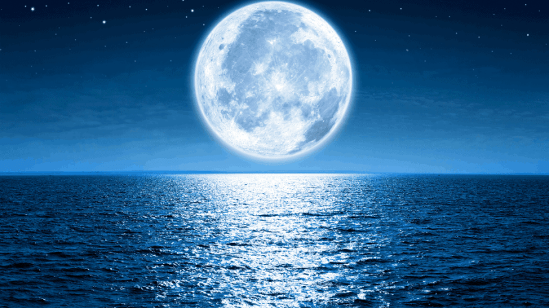 Decorative image of the moon large over a lake