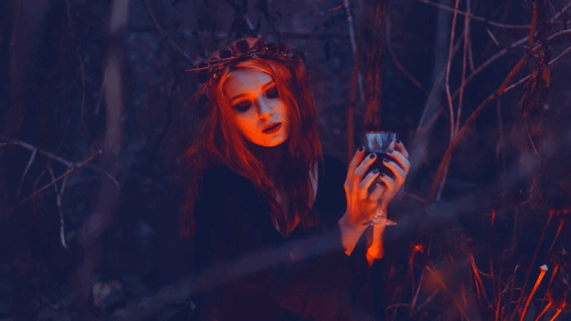 Decorative image of a solitary witch in the woods holding a cup by a fire