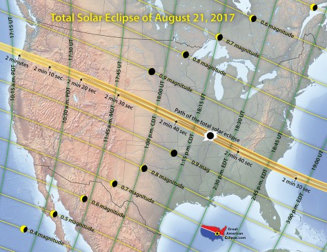 Map of the August 2017 Solar Eclipse