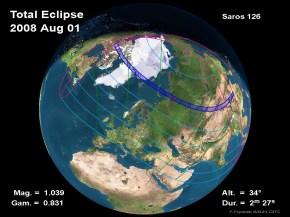 Total sun eclipse, august 1st 2008