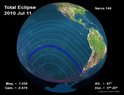 2010 eclipse total de Sol del Mapa Global