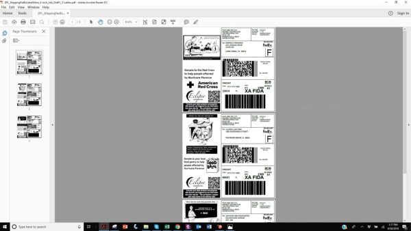 A screen shot depicting labels in the process of design being previewed in a PDF viewer.