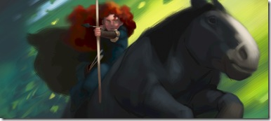 """""""BRAVE""""  HIGHLAND OF THE """"BRAVE"""" -- The rugged and mysterious Highlands of Scotland serve as the backdrop for """"Brave,"""" a new tale that joins the land's ancient lore—stories of epic battles and mystical legends passed down for generations. Directed by Mark Andrews and Brenda Chapman, and produced by Katherine Sarafian, """"Brave"""" is the grand adventure of Merida (voice of Kelly Macdonald), a skilled archer who confronts tradition, destiny and the fiercest of beasts to discover the true meaning of courage.  The film also features the voices of Emma Thompson, Billy Connolly, Julie Walters, Kevin McKidd, Craig Ferguson and Robbie Coltrane.  """"Brave,"""" full of heart, memorable characters and Pixar's signature humor, takes aim at theaters on June 22, 2012, and will be presented in Disney Digital 3D™ in select theaters.   ©Disney/Pixar.  All Rights Reserved."""