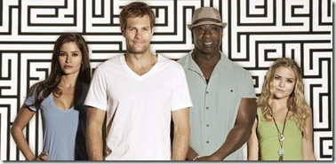THE FINDER:  The one-hour procedural centering on a remarkable man with an extraordinary ability to help people find the unfindable premieres Thursday, Jan. 12 (9:00-10:00 PM ET/PT) on FOX.  Pictured L-R:  Mercedes Masöhn, Geoff Stults, Michael Clarke Duncan and Maddie Hasson.  ©2011 Fox Broadcasting Co.  Cr:  Patrick Ecclesine/FOX