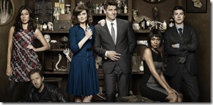 BONES: L-R: Michaela Conlin, TJ Thyne, Emily Deschanel, David Boreanaz, Tamara Taylor and  John Francis Daley in the season seven premiere of BONES airing Thursday, Nov. 3 (9:00-10:00 ET/PT) on FOX.  ©2011 Fox Broadcasting Co. Cr: Brian Bowen Smith/FOX