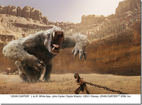 """JOHN CARTER""..L to R: White Ape, John Carter (Taylor Kitsch)..©2011 Disney. JOHN CARTERª ERB, Inc."