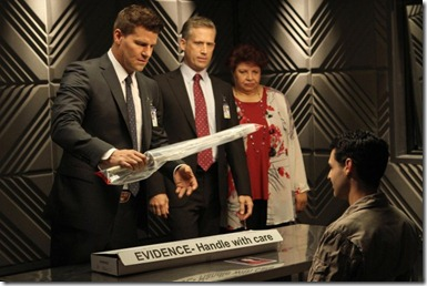BONES:  (L-R) Booth (David Boreanaz), FBI Special Agent Hayes Flynn (guest star Reed Diamond) and AUSA Caroline Julian (guest star Patricia Belcher) question Christopher Pelant (guest star Andrew Leeds, R) in the Season Eight premiere episode of BONES airing Monday, Sept. 17 (8:00-9:00 PM ET/PT) on FOX.  ©2012 Fox Broadcasting Co.  Cr:  Patrick McElhenney/FOX