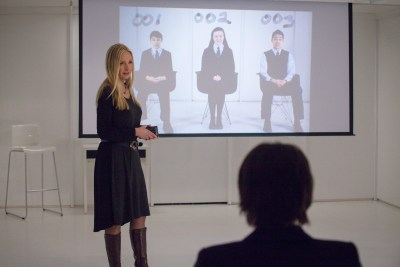 """WAYWARD PINES:  Megan Fisher (guest star Hope Davis) holds an orientation with new students at Wayward Pines Academy in the """"The Truth"""" episode of WAYWARD PINES airing Thursday, June 11 (9:00-10:00  PM ET/PT) on FOX.  ©2015 Fox Broadcasting Co.  Cr:  Liane Hentscher/FOX"""