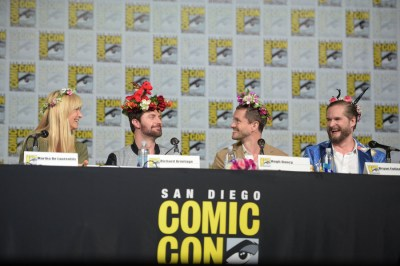 "COMIC-CON INTERNATIONAL: SAN DIEGO 2015 -- ""Hannibal"" Panel -- Pictured: (l-r) Martha De Laurentiis, Executive Producer; Richard Armitage, Hugh Dancy, Bryan Fuller, Executive Producer, Writer, Saturday, July 11, 2015, from the San Diego Convention Center, San Diego, Calif. -- (Photo by: Jason Kempin/NBC)"