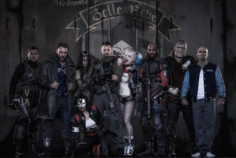 (LARGER FILE) Official Cast photo for SUICIDE SQUAD movie tweeted by director David Ayer on May 3  Adam Beach as Slipknot, Jai Courtney as Captain Boomerang, Cara Delevingne  as Enchantress,  Karen Fukuhara as Katana (kneeling front), Joel Kinnaman as Rick Flagg, Margot Robbie  as Harley Quinn, Will Smith as Deadshot, Adewale Akinnuoye-Agbaje as Killer Croc,  Jay Hernandez as El DIablo  CREDIT: Twitter?@DavidAyerMovies