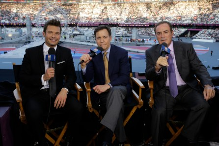 2012 SUMMER OLYMPICS -- Pictured: (l-r) Ryan Seacrest, Bob Costas, Al Michaels -- (Photo by: Paul Drinkwater/NBC)
