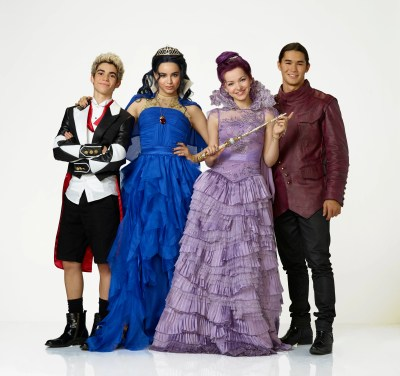 "DESCENDANTS - Disney Channel's original movie ""Descendants"" stars Cameron Boyce as Carlos, Sofia Carson as Evie, Dove Cameron as Mal and Booboo Stewart as Jay. (Disney Channel/Bob D'Amico)"