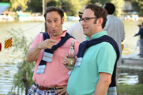 "PLAYING HOUSE -- ""Kimmewah Kup"" Episode 206 -- Pictured: (l-r) Randy Sklar as Ronnie Cavanaugh, Jason Sklar as Conrad Cavanaugh -- (Photo by: Michael Yarish/USA Network)"
