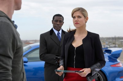 ENDGAME -- Pilot -- Pictured: (l-r) Wesley Snipes as Johnson, Charity Wakefield as Cassandra -- (Photo by: Gregory E. Peters/NBC)