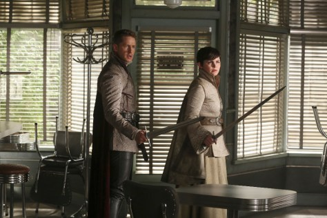 "ONCE UPON A TIME - ""The Broken Kingdom"" - After receiving a cryptic warning from Lancelot about Arthur's intentions, Mary Margaret realizes Arthur may be the heroes' biggest threat, but when she is unable to convince David of the danger, she takes matters into her own hands. Meanwhile, Hook's unwavering love for Emma provides a glimmer of hope in her struggle against the unrelenting voice of Rumplestiltskin. In a Camelot flashback, Guinevere senses that Arthur is losing his way, consumed by his obsession with making Excalibur whole, so she sets out with Lancelot on her own quest into the heart of darkness. In Storybrooke, Dark Emma unleashes a secret weapon in the next phase of her plan to find the brave soul she needs to draw Excalibur from the stone, on ""Once Upon a Time,"" SUNDAY, OCTOBER 18 (8:00-9:00 p.m., ET) on the ABC Television Network. (ABC/Jack Rowand) JOSH DALLAS, GINNIFER GOODWIN"