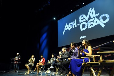 NEW YORK, NY - OCTOBER 10: Cast and Crew of Ash vs the Evil Dead speaks onstage the STARZ' Ash vs Evil Dead Panel At Hammerstein Ballroom During New York Comic Con at Hammerstein Ballroom on October 10, 2015 in New York City. (Photo by Nicholas Hunt/Getty Images for STARZ)