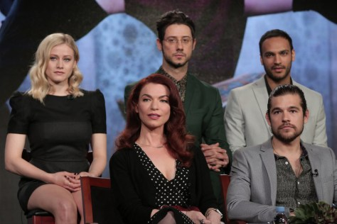 """NBCUNIVERSAL EVENTS -- NBCUniversal Press Tour, January 2016 -- Syfy """"The Magicians"""" Session -- Pictured: (l-r) Olivia Taylor Dudley, Sera Gamble, Executive Producer; Hale Appleman, Jason Ralph, Arjun Gupta -- (Photo by: Chris Haston/NBCUniversal)"""